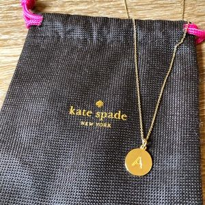 """Gold Kate Spade New York """"A"""" Necklace"""